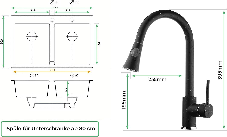 Siphon Hochdruck Sp/ülbecken Drehexcenter Armatur 3000 K/üchensp/üle Schrankbreite ab 80 cm 2-Becken Granitsp/üle grau