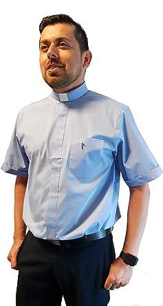 ANCORA INDUMENTA Camisa Sacerdote Clergyman - Manga Corta: Amazon.es: Ropa y accesorios