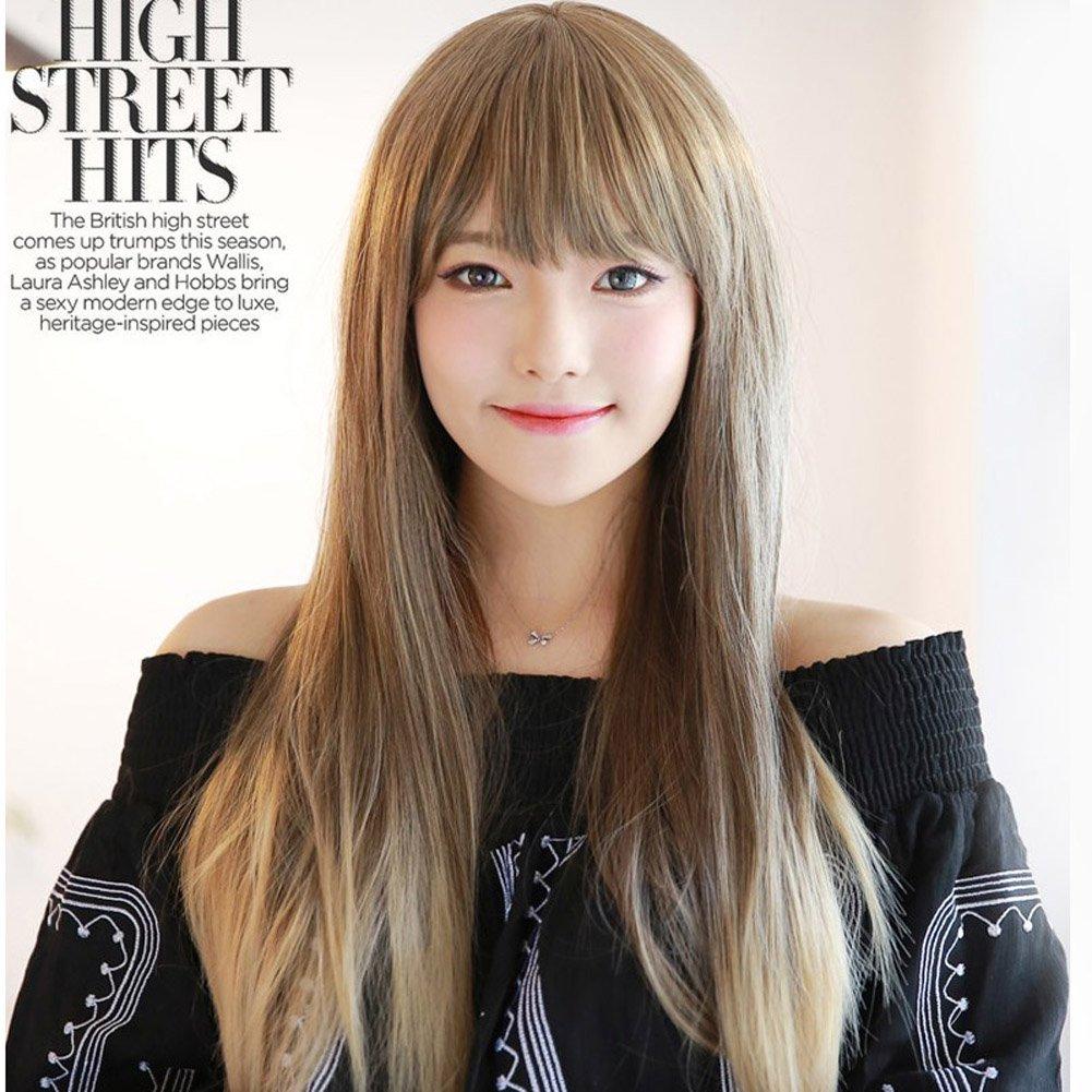 Amazon.com   28 inch 70cm Women s Harajuku Long Straight Two Tone Wig  Flaxen Mixed Blonde Flat Bang   Beauty 493ce4f6d