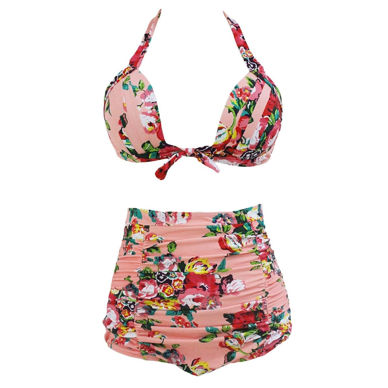 2er-Pack Frauen-Sommer Strand Keine Ränder Sammeln Taille Halter Gurte Geteilt Bikini Farbe Optional