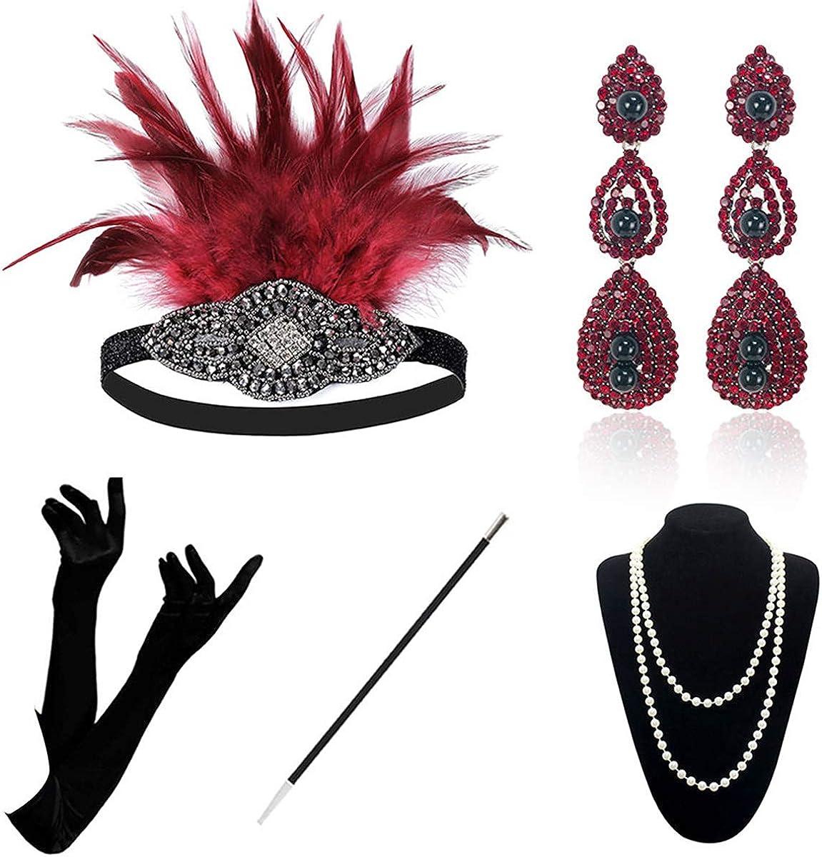 Juego de accesorios de 1920 – Juego de accesorios para disfraz de Gatsby de los años 20, vintage, diademas, pendientes, collares, guantes y soporte para cigarrillos