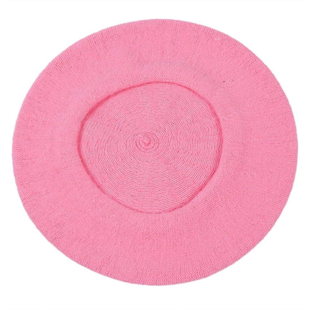 Ogquaton Boina Vintage Classic Wool Boina franc/és Artista Color s/ólido Sombrero de lana Moda Gorras calientes para mujeres Rosa 1 pieza