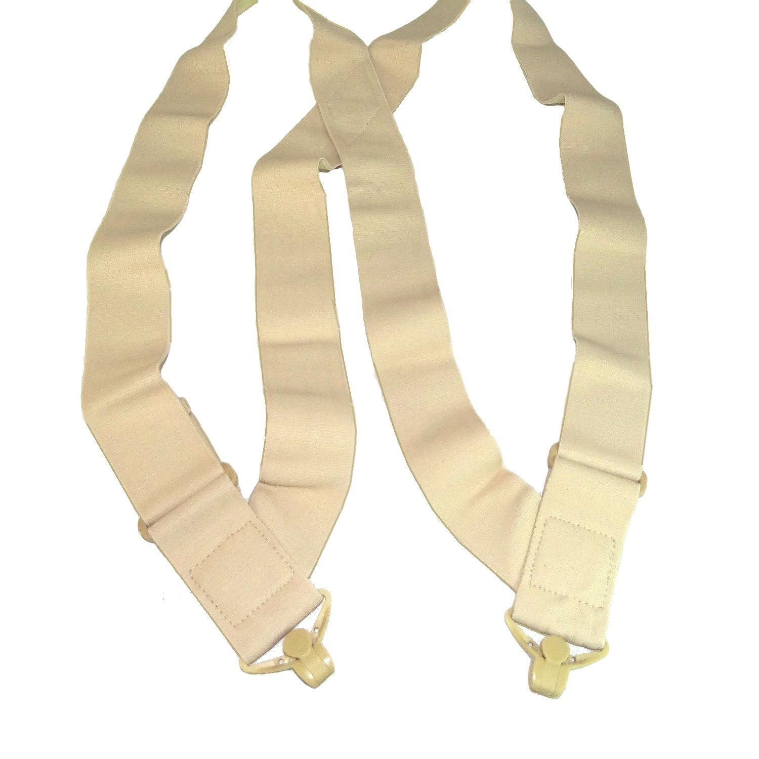 Holdup Brand 2 Wide Light Tan Under-Up Suspenders with Patented Jumbo Tan Gripper Clasp Holdup Suspender Company Inc 6506HP