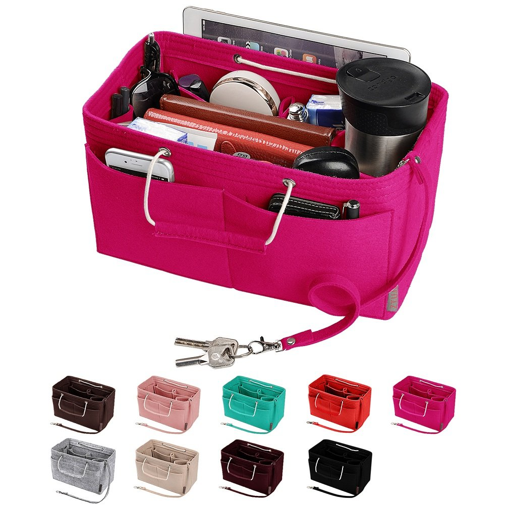 Purse Organizer, Multi-Pocket Felt Handbag Organizer, Purse Insert Organizer with Handles, Medium, Large (Large, Rose)