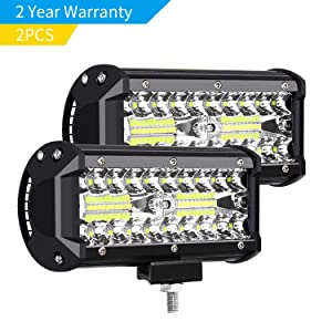 "AUZKIN 7"" LED Light Bar Submersible driving lights 240W 24000lm LED Pods Spot Flood Combo Beam Off Road lights fog lights for Truck Trailer Pickup Boat Car SUV ATV RV Jeep,2 Yr Warranty,2Pcs"