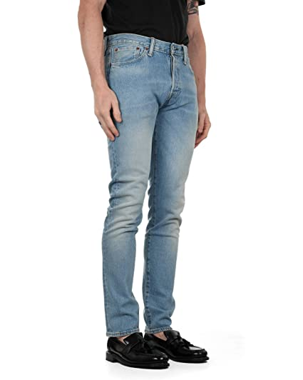 6ae70bf9 Levi's Mens 501 Skinny Fit Jeans in Light Blue- Button Fastening ...