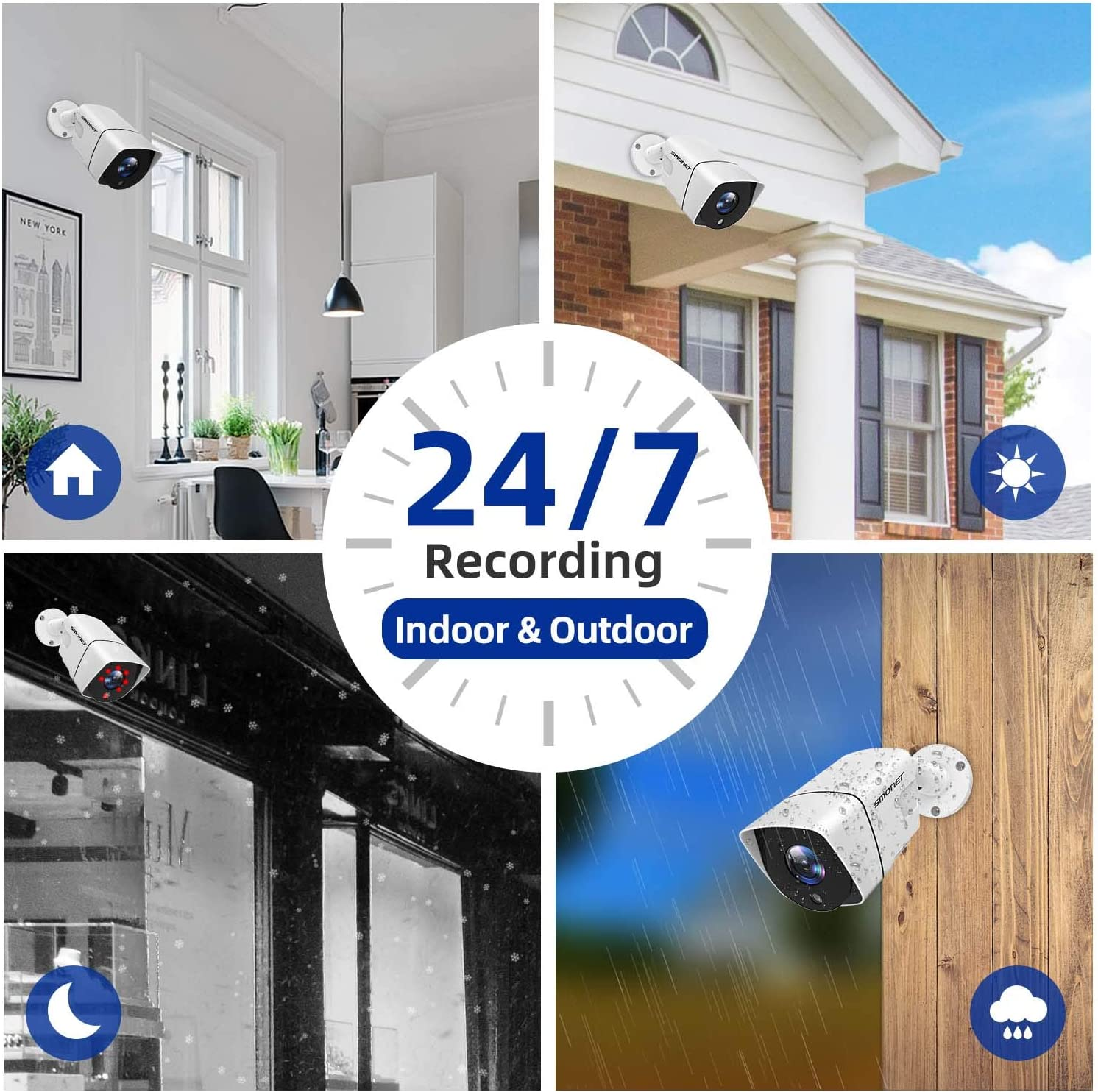 ,4pcs Outdoor Indoor Wired Security Cameras FHD Home Security Camera Systems,SMONET 8 Channel 5-in-1 5MP Video Security System P2P Surveillance Systems,CCTV DVR Kits with Night Vision 1TB Hard Drive