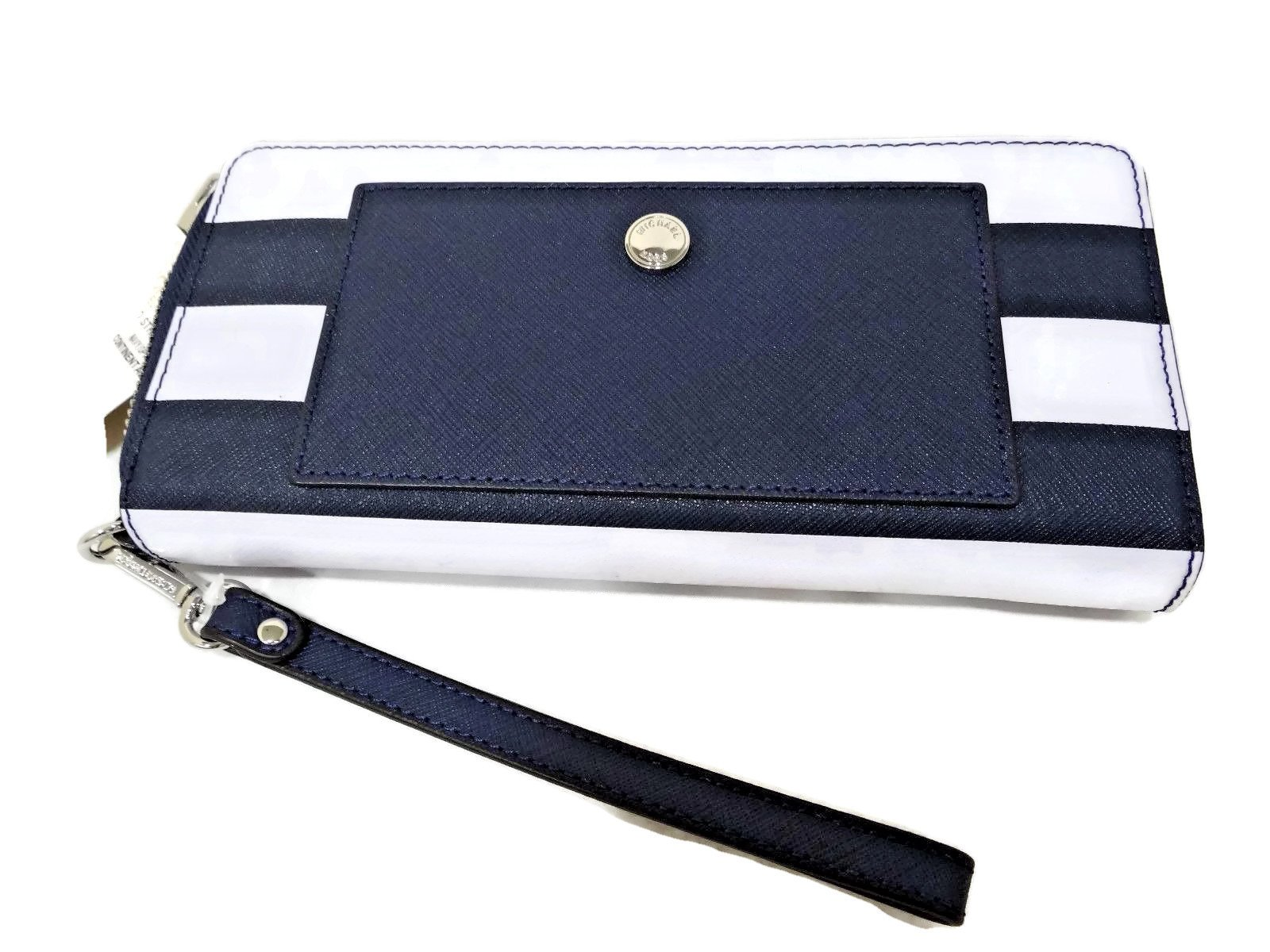 Michael Kors Travel Continental Wallet (Navy/White) by Michael Kors