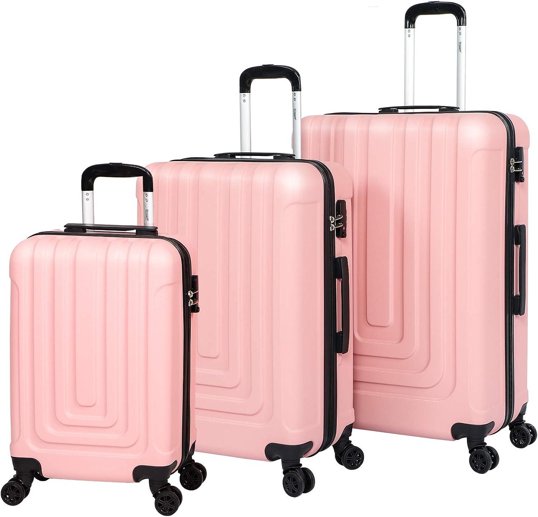 Maleta de viaje para equipaje de cabina de mano con carcasa dura de viaje duradera con 4 ruedas giratorias, juego de 3 piezas (20
