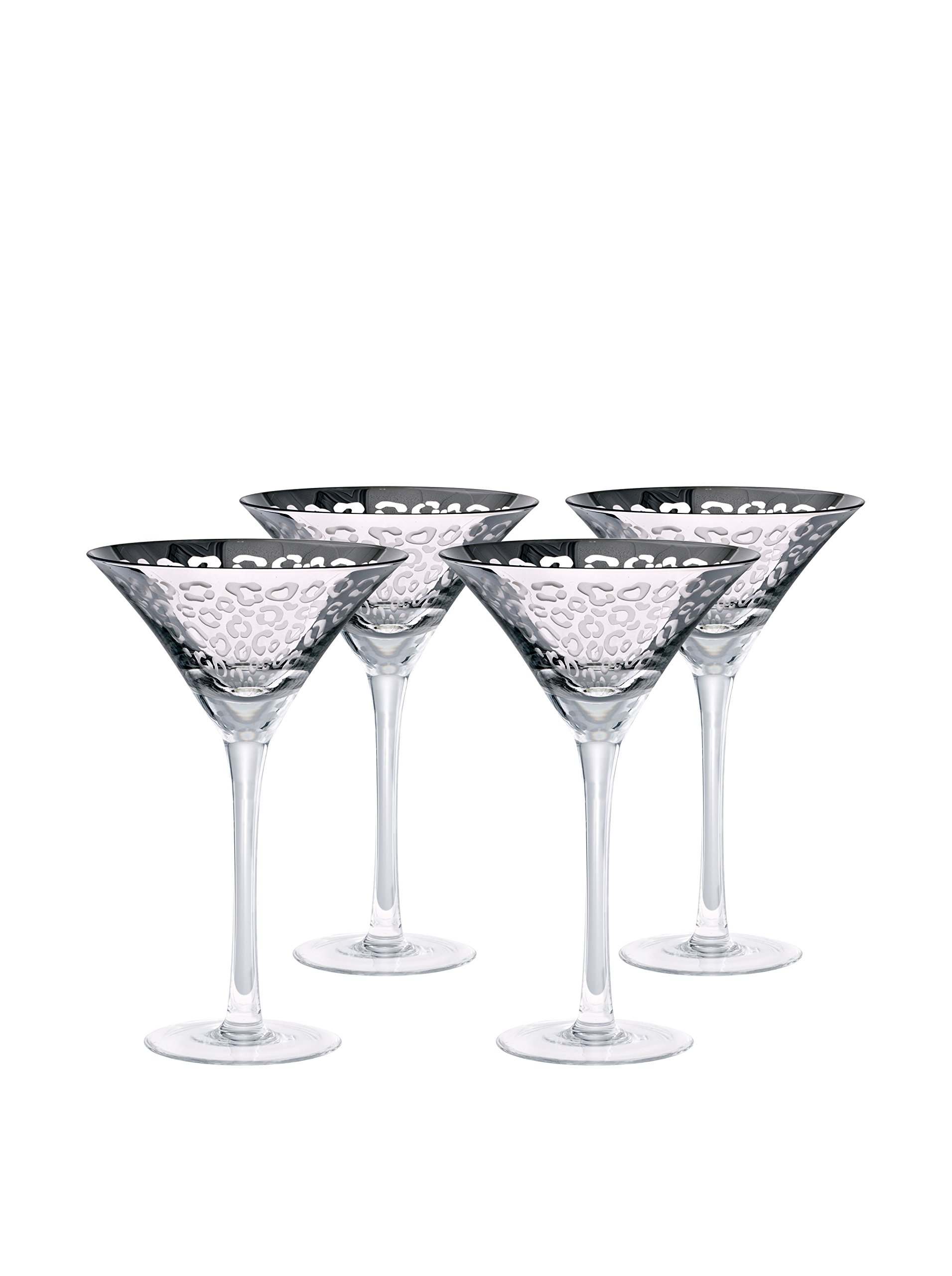 Artland 51162B Leopard martini Glass, 8 oz, Silver, Set of 4