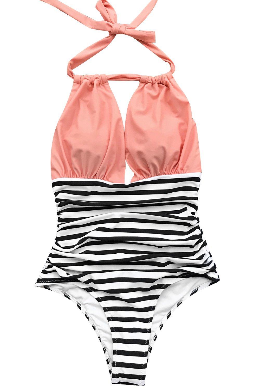 Seaselfie Women's High Waisted Halter Design Stripes One-Piece Swimsuit YY1253