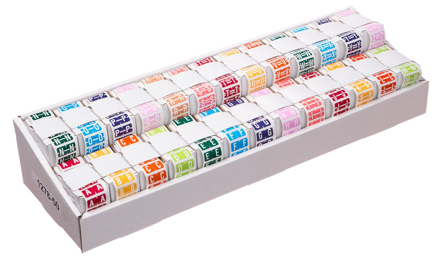 TAB Color-Coded Alphabetic Label Rolls, A-Z Full Set, 1/2'', 26 - 500 Label Rolls/Box