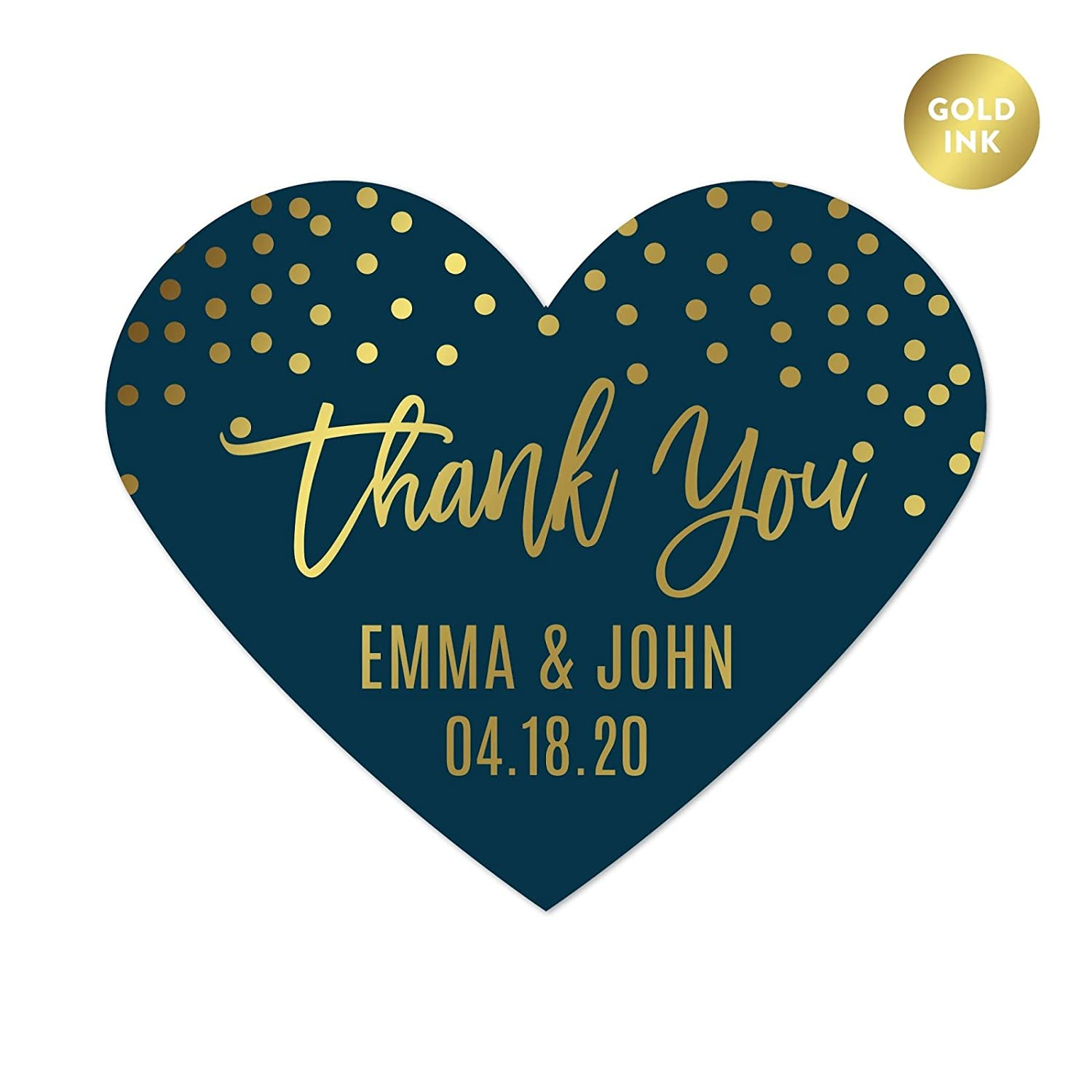 Andaz Press Navy Blue with Gold Metallic Ink Wedding Party Collection, Personalized Heart Label Stickers, Thank You Anna Steve January 4, 2020, 75-Pack, Custom Names and Date