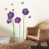 Walplus Huge Flowers Wall Stickers - Office Home Decoration ,50cm x 70cm, Transparent, PVC , Removable, Self-Adhesive, Violet