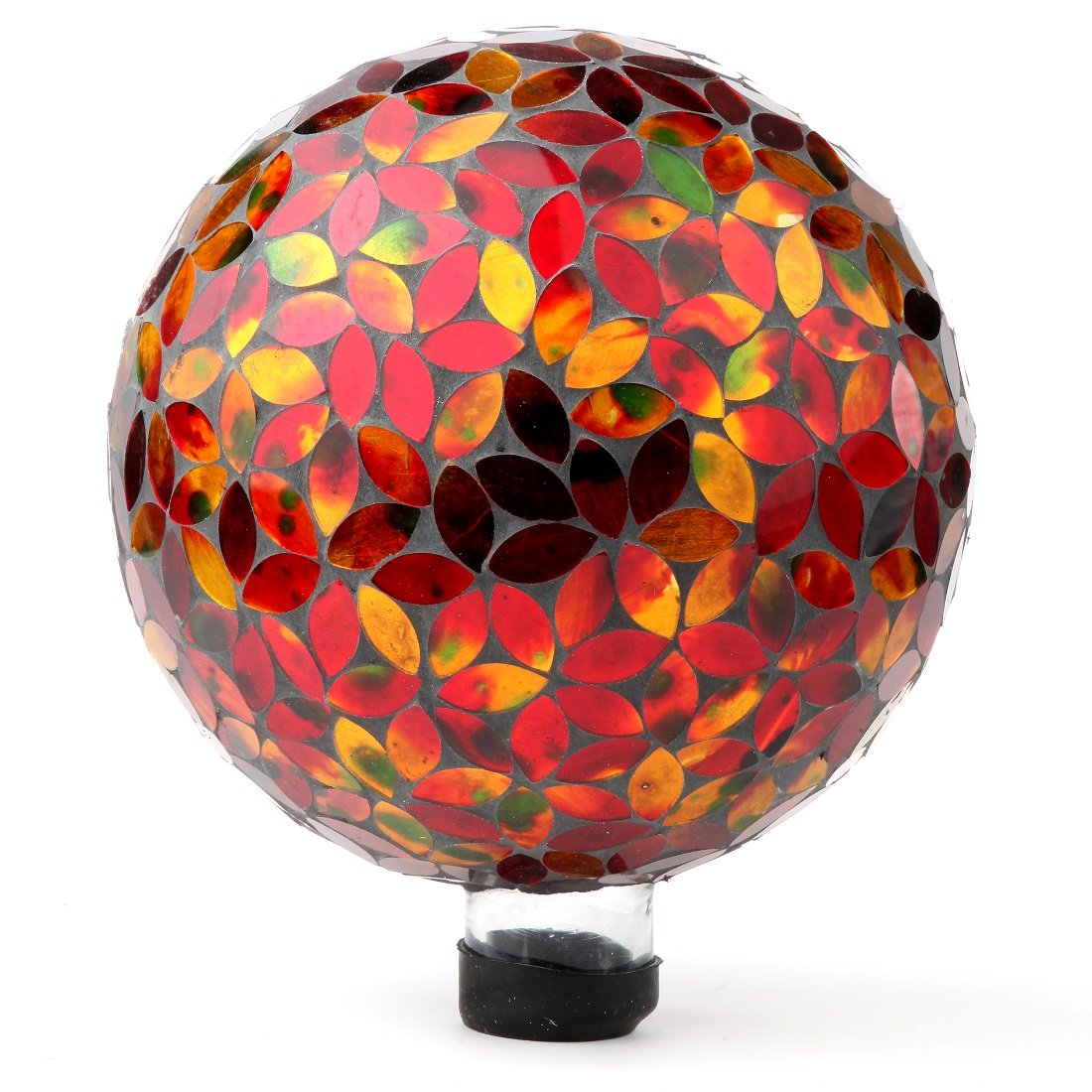 "Lily's Home Glass Gazing Ball | Holographic Effect, Stunning Rainbow Color Reflection Effect, Mosaic Design, Red & Gold Petal Shape Mirrors, Attracts Good Fortune, Lovely Centerpiece, 10"" Dia."