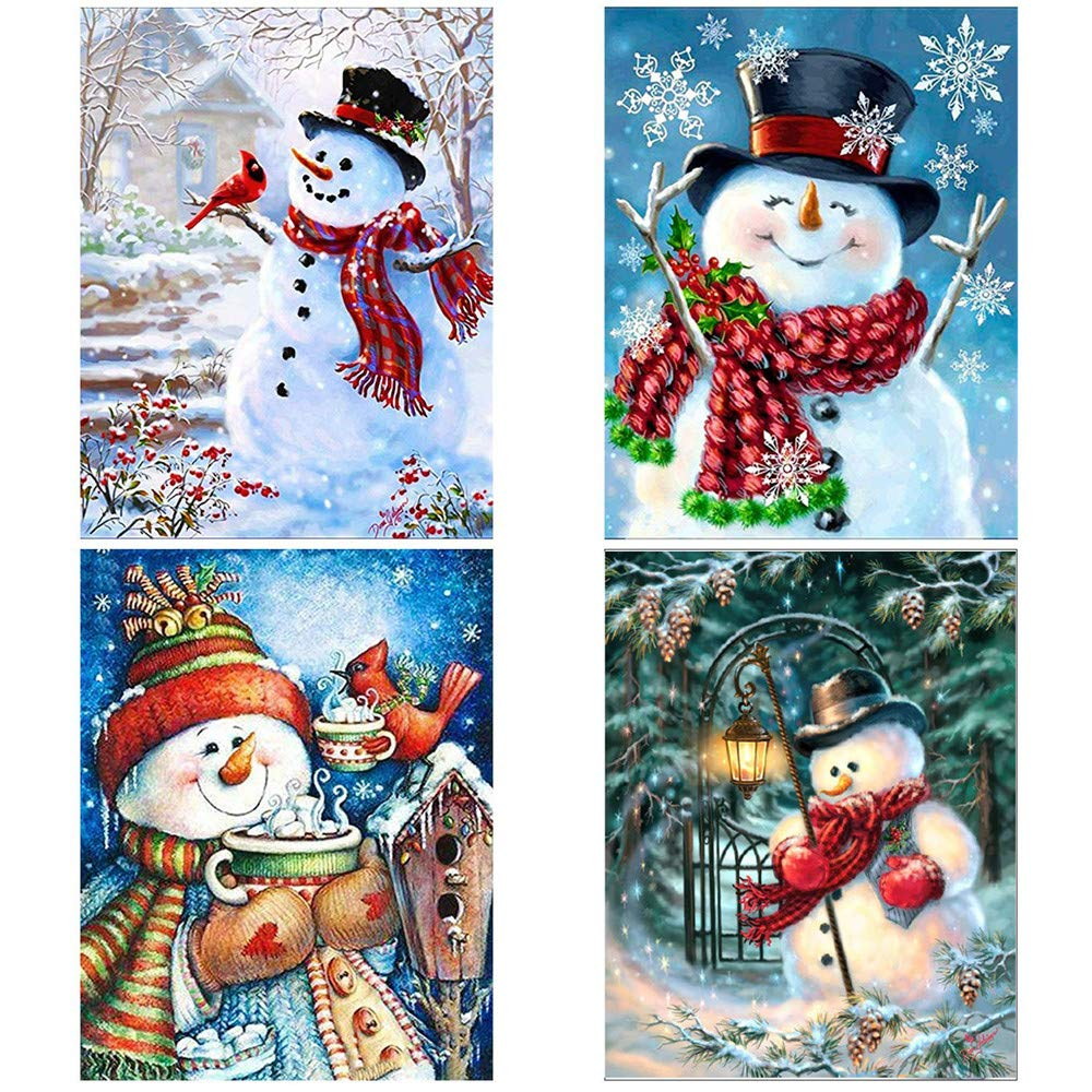 4 Pack 5D DIY Diamond Painting Kits, Snowman Drill Rhinestone Embroidery Cross Stitch Painting for Christmas Winter Party&Home Desk and Cabinet Decoration Kalolary(11.8x15.7 inch/30x40cm)