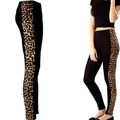 36a91506f5a New Womens Ladies Side Panel Animal Leopard Print Full Length Leggings  Pants Size 8-24  Amazon.co.uk  Clothing