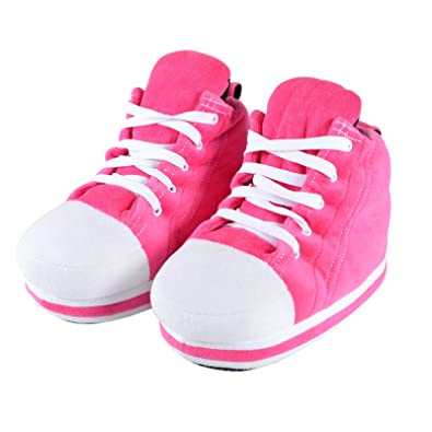 2587fe61a Ladies Pink Sneaker Trainer Fun Novelty Slippers Real Shoe Laces - UK 7-8