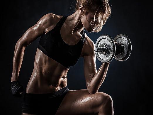 Con hembra Fitness para levantar peso entrenamiento motivación Póster de 18 x 24 (sgv22)