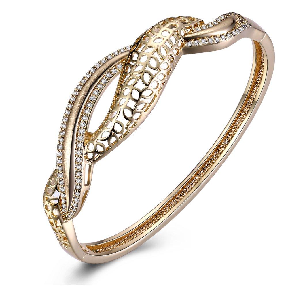 BEMI Luxury Pave Zircon Cuff Charm Bracelet Birthday Party Gift Gold Plated Bangle Bracelets for Women LeiZ inc CBB-381