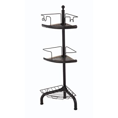 Home Zone Bathroom Shower Caddy with 3-Basket Shelves | Adjustable Standing Storage Placement with Oil-Rubbed Bronze Finish (Rustic Style)