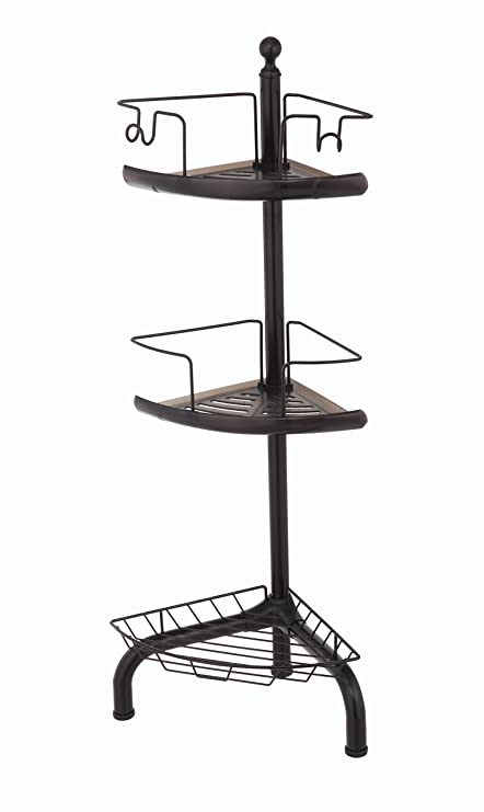 Amazon.com: Home Zone 3 Tier Adjustable Corner Shower Caddy, Oil ...
