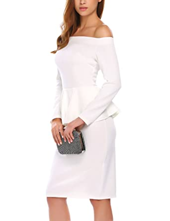 c8cce166ef1 ANGVNS Women's Elegant Long Sleeve Off Shoulder Ruffles Pencil Business  Party Dress White S