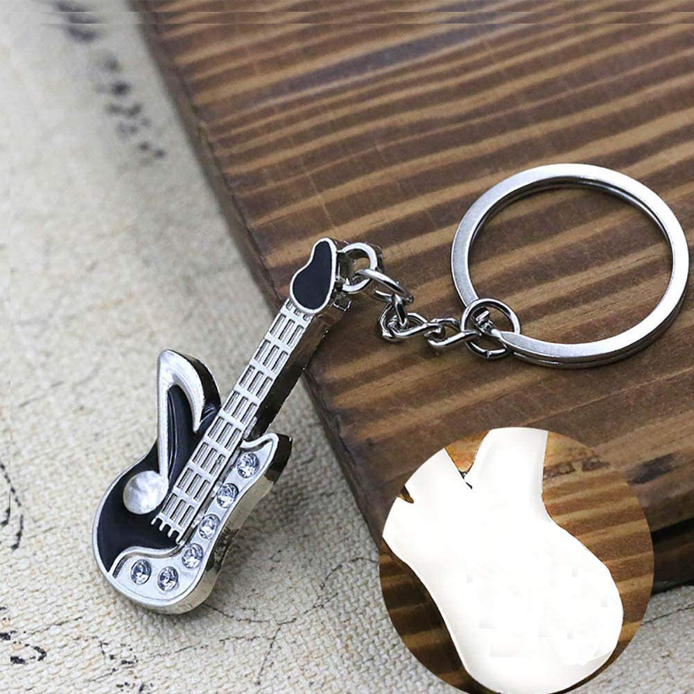 EMANFED Silver Metal Guitar Key chain Car RV Personal Home Office Business Cute Keychains with Key Ring Key Holder in Gift Box for Men Women Girlfriend Boyfriend Husband