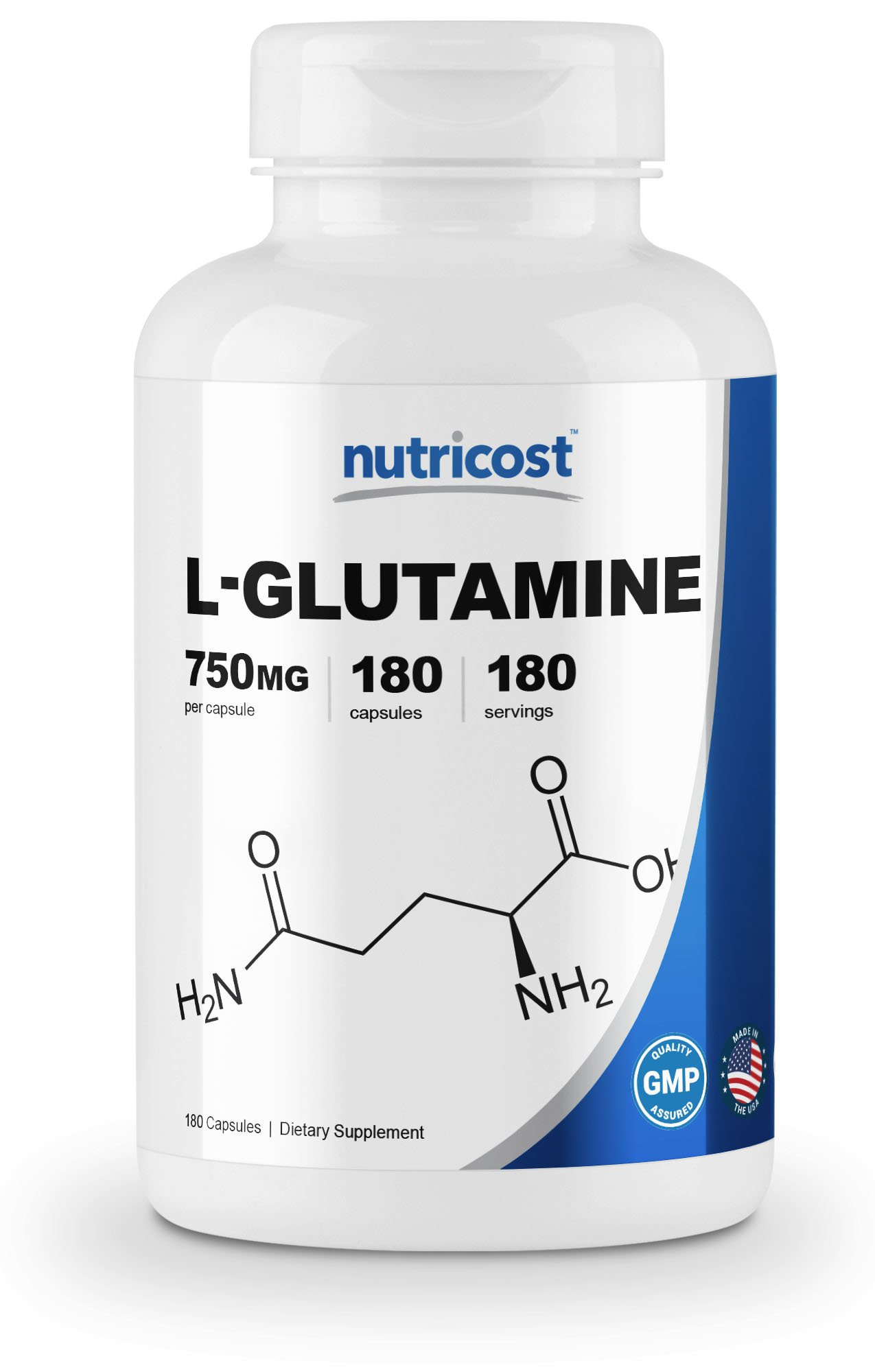 Nutricost L-Glutamine 750mg; 180 Capsules by Nutricost (Image #1)
