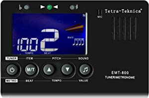 Tetra-Teknica Essential Series EMT-800 LCD Display 3in1 Digital Metronome, Tuner and Tone Generator for Chromatic, Guitar, Bass, Ukulele, Violin, 30-260 BPM, 9 Rhythms, 0-9 Beats