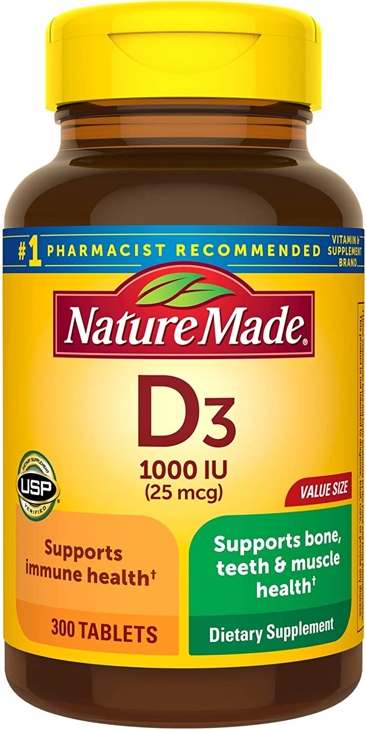 Nature Made Vitamin D3 1000 IU (25mcg) Tablets, 300 Count for Bone Health† (Packaging May Vary): Health & Personal Care