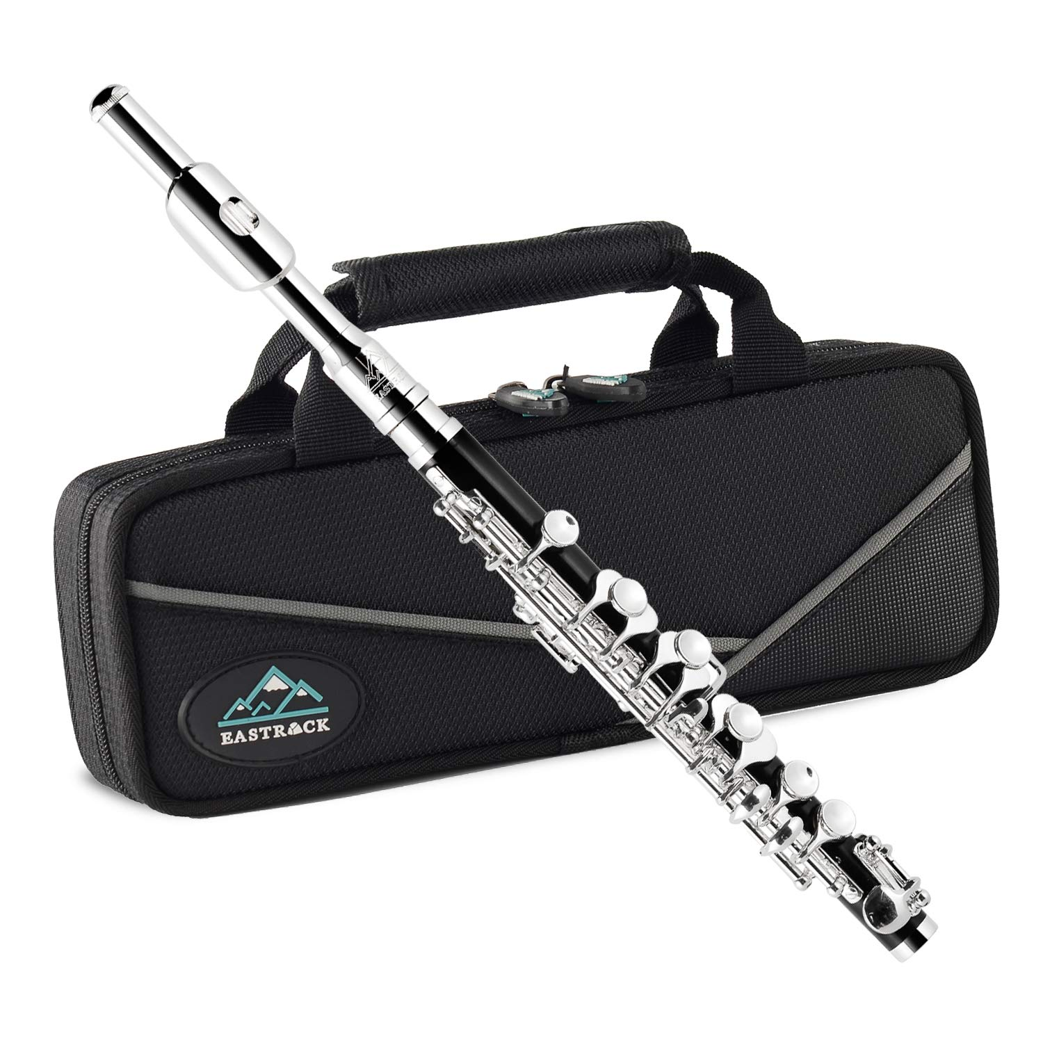 Eastrock Black Resin Piccolo Key of C Silver Plated Keys with Case