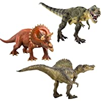 deAO Large Dinosaur Figures Set of 3 T-Rex Triceratops Spinosaurus, Multi Colour