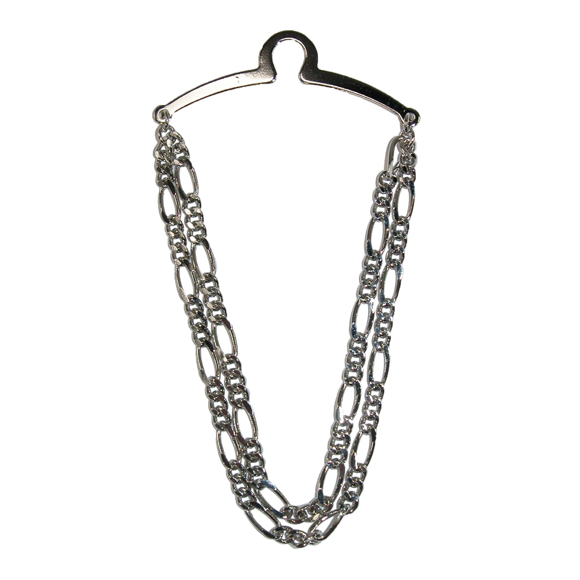Competition Inc. Men's Double Link Tie Chain, Silver