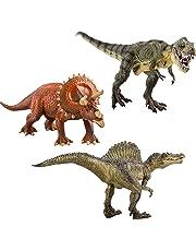 deAO - Juego de 3 Figuras de Dinosaurio T-Rex Triceratops Spinosaurus