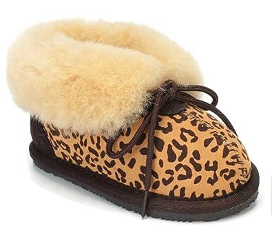 Cool Beans Sheepskin Childrens Slippers Warm Fur Winter Boots (Boys, Girls:  Baby /