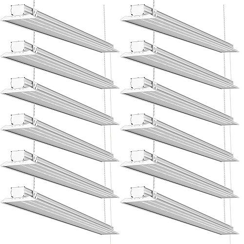 led overhead shop lights surface mount led sunco lighting 12 pack 4ft 48 inch led flat utility shop light 40w 300w eq for garage amazoncom