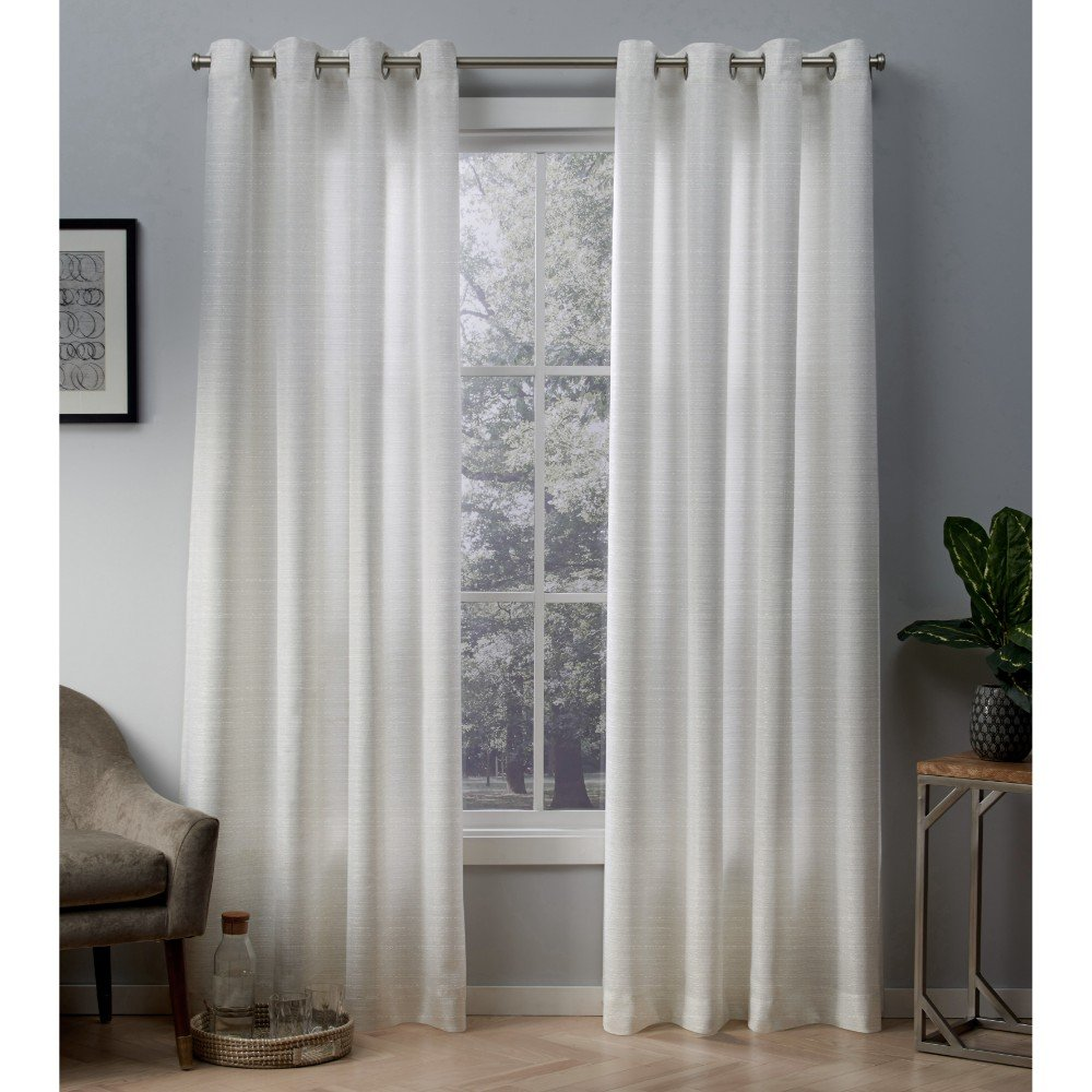 Exclusive Home Curtains Whitby Metallic Slub Yarn Textured Silk Look Window Panel Pair with Grommet Top, 54x84, Winter White, Gold, 2 Piece