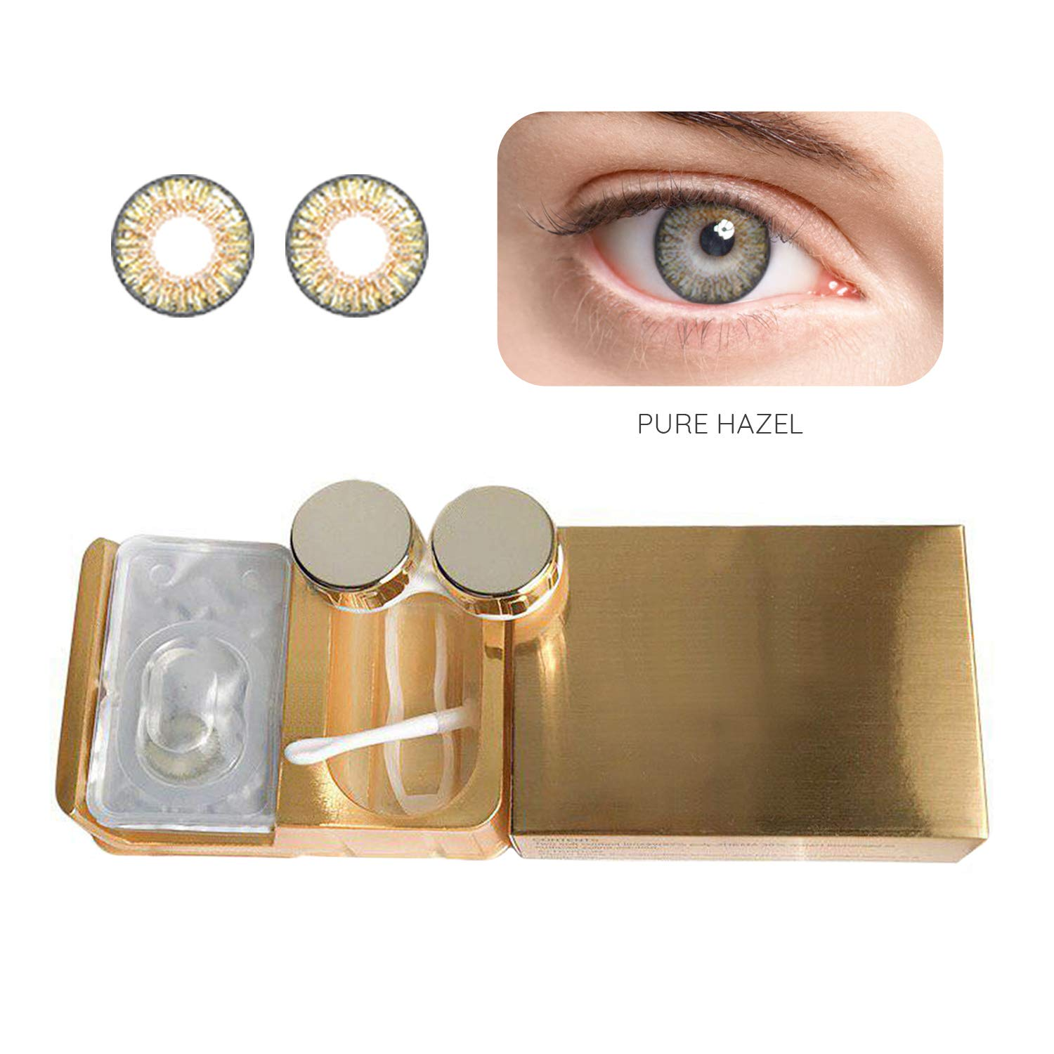 Eye Color Enhancer Set - Bright Iris Tone Transformation Optics Changer - Fun Party and Costume-look - Unisex(Pure Hazel)