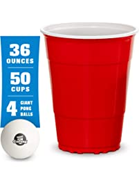 GoBig Giant Red Party Cups Packs with 4 XL Pong Balls | Pick 110oz or 36oz Sizes | Giant Cups for Beer Pong, Flip Cup or...
