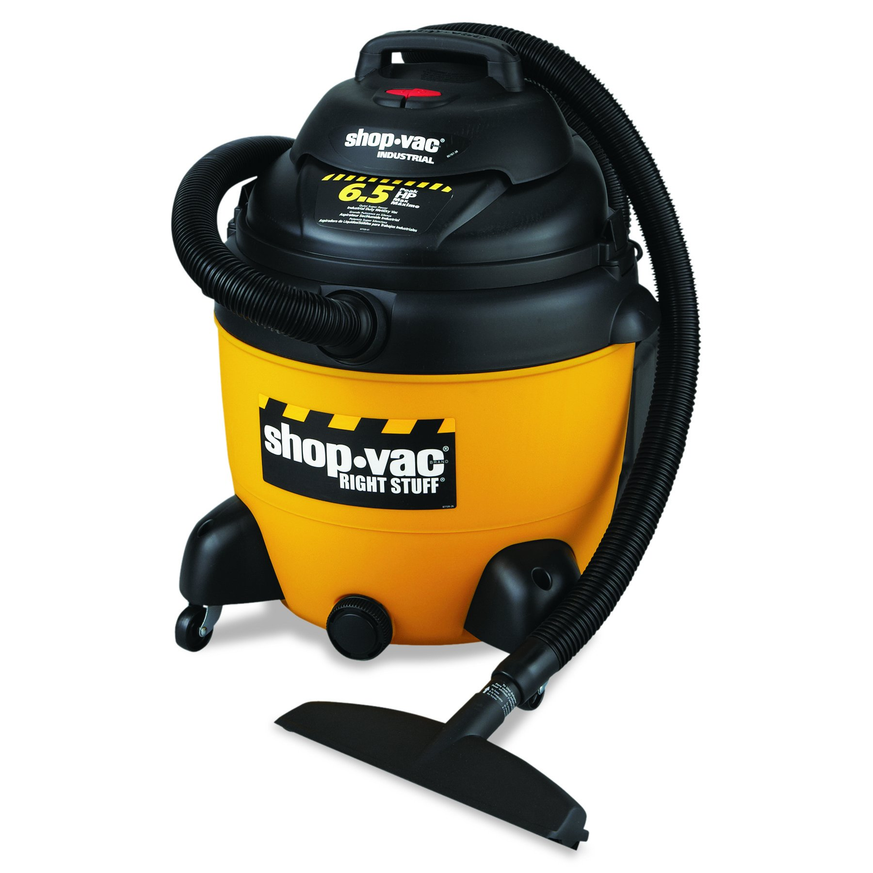Shop-Vac 677-962-53-10 SHO9625310 Industrial Wet/Dry Vacuum, 18 gal, 6.5 Peak HP, Yellow/Black