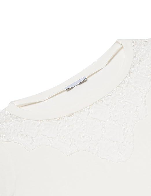 Etuoji Women Floral Lace Long Sleeve Basic Slim Stretch T Shirt Tops