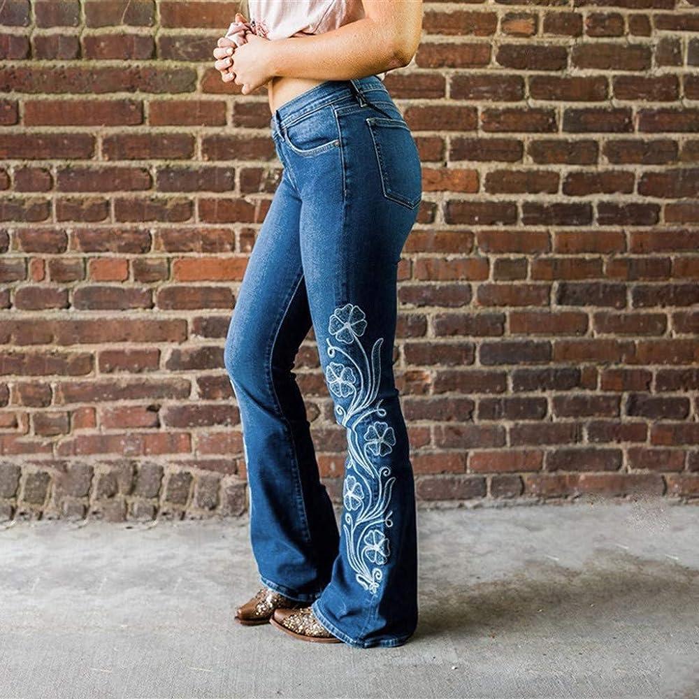RISTHY Mujer Pantalones Acampanados Bordados Casual Vaqueros Retro Ocios Cintura Alta Jeans de Mujer Ancho Pierna Elástica Slim Fit Holgados Bota Boot-Cut: Amazon.es: Ropa y accesorios