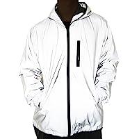 Fangfei® 3 m Scotchlite reflectante capa cortavientos con capucha chaqueta deportiva de