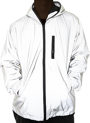 fangfei 3M Reflective Coat Hooded Windbreaker Fashion Runing Pocket Jacket