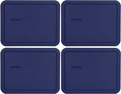 Pyrex 7211-PC 6 Cup Blue Rectangle Plastic Lid - 4 Pack
