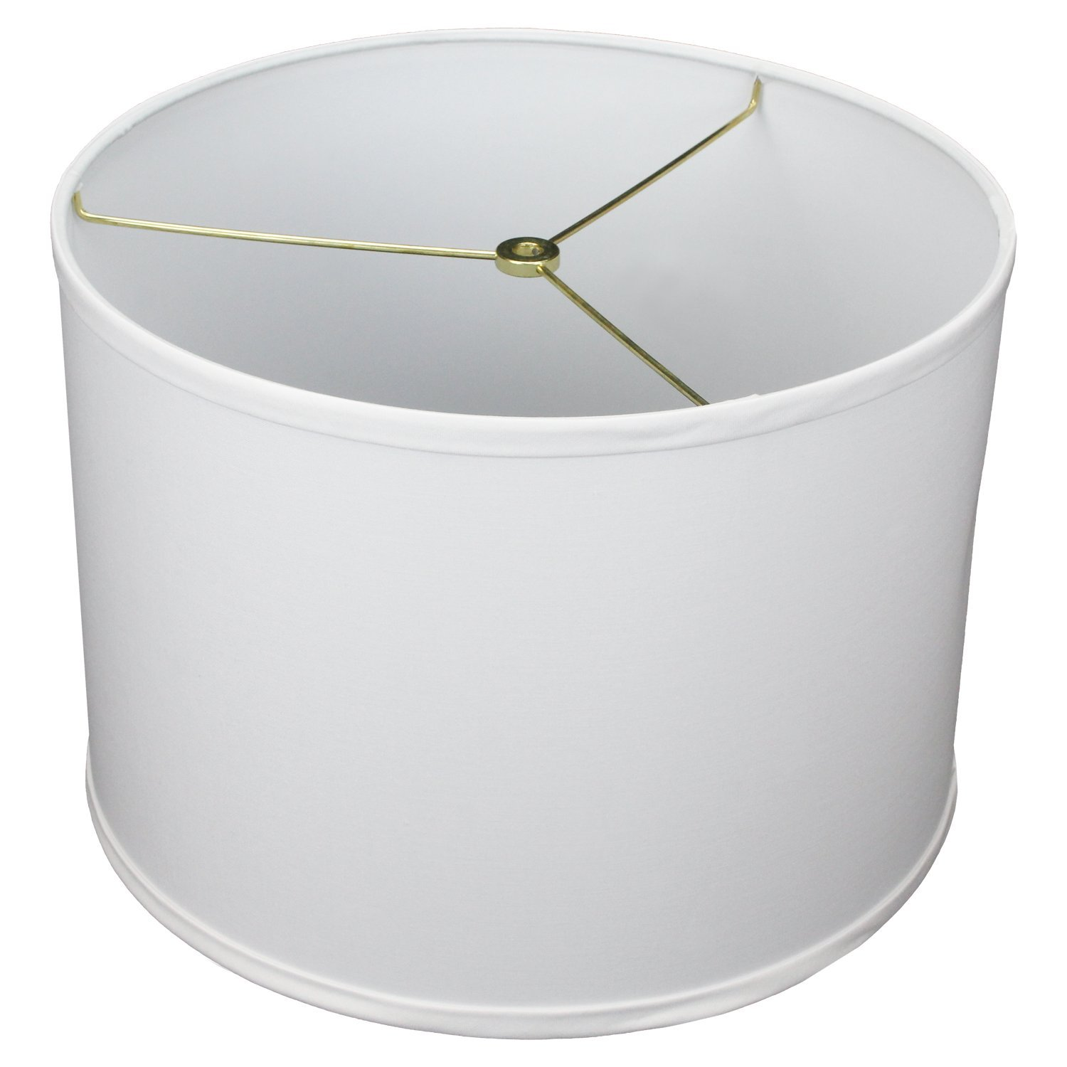 FenchelShades.com 14'' Top Diameter x 14'' Bottom Diameter 10'' Height Cylinder Drum Lampshade USA Made (White)