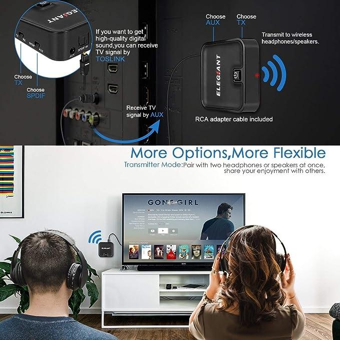 ELEGIANT Adaptador Bluetooth 2 en 1, Receptor Transmisor Inalámbrico APT-X LL Baja Demora con Toslink Óptico SPDIF para Altavoz PC Auriculares TV Teléfono ...