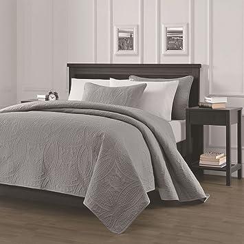 Superior Chezmoi Collection Austin 3 Piece Oversized Bedspread Coverlet Set (Queen,  Gray)
