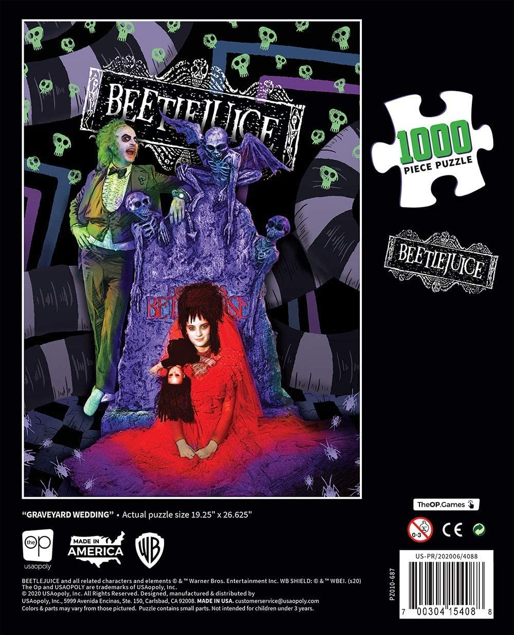 Officially Licensed 1988 Film Beetlejuice Merchandise USAOPOLY Beetlejuice Graveyard Wedding 1000 Piece Jigsaw Puzzle Collectible Puzzle Featuring Beetlejuice and Lydia